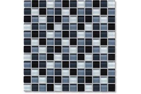Crystal Glass Black & White Mix Gloss Mosaic