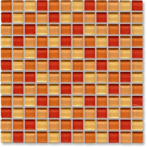 Crystal Glass Orange Mix Gloss Mosaic