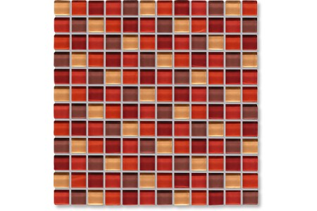 Crystal Glass Red Mix Gloss Mosaic