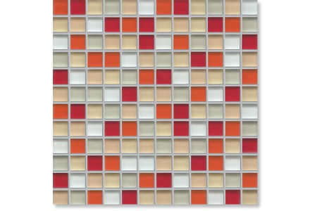 Crystal Glass Red/beige Mix Gloss Mosaic
