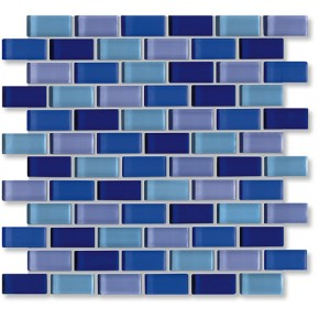 Crystal Glass Blue Mix Glossy Brick Pattern Mosaic