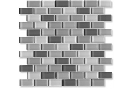 Crystal Glass Black/white Mix Glossy Brick Pattern Mosaic