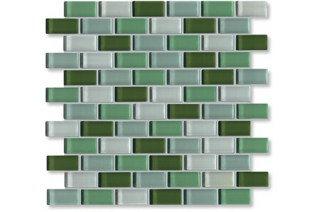 Crystal Glass Green Mix Glossy Brick Pattern Mosaic