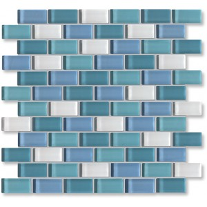 Crystal Glass Aqua Mix Glossy Brick Pattern Mosaic
