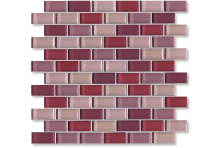 Crystal Glass Violet Mix Glossy Brick Pattern Mosaic