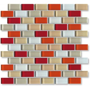 Crystal Glass Red/beige Mix Glossy Brick Pattern Mosaic