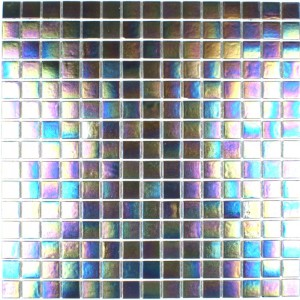Iridium Iridescent Glass Mosaic Pewter
